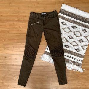Zara Olive Moto Skinny Jeans